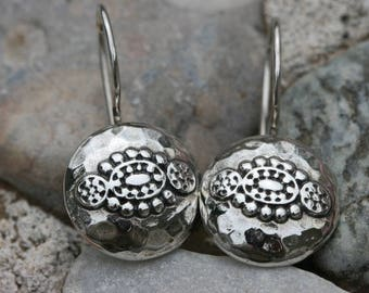 Convex Round Silver Earrings , Handmade Silver Earrings,Plain Silver Earring, Silver Jewelry,
