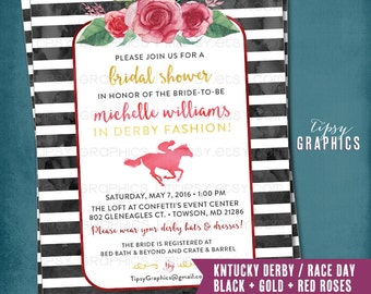 Kentucky Derby Race Day Party Invitation. Bridal Shower. bachelorette. Hens Day. Stripes Roses. Boho. Printable DiY Invite by Tipsy Graphics