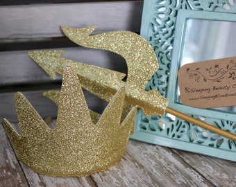Ursula inspired Crown and Trident Set- Glitter and Felt Dress Up Accessories