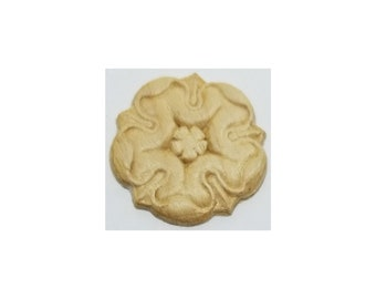 Oak Veneered Pressed Decorative Ornament carved Rosette rose trim wood antique vintage retro