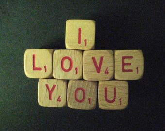 """Vintage Game Cubes-""""I LOVE YOU""""-wood game cubes for quaint display."""