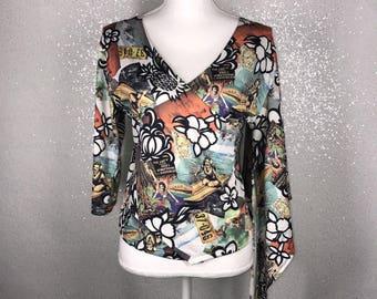Vintage 90's Hawaiian shirt top womens unique hawaii