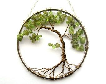 Rosenquarz-Draht-Baum des Lebens-Wandbehang Kirsche Baum