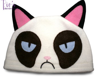 Fleece Character Hat - Grumpy Cat - Fleece Hat - Super Cozy Beanie
