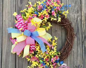 Yellow Forsythia Wreath, Spring Wreath, Summer Wreath, Front Door Wreath, Yellow Wreaths, Forsythia Wreath, Pink Blossom Wreath, Wreaths