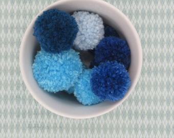 Blue Pom Poms, Handmade Pom Poms, Pom Poms for Crafting, Pom Pom Garland, Craft Pom Poms, Custom Pom Poms
