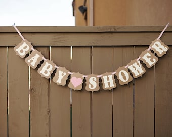 BABY SHOWER banner for Baby Showers, Maternity Photoshoot Prop | Kraft & White with Pink or Blue Heart