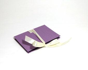 purple accordion book, small photo album, baby brag book, wedding guest book
