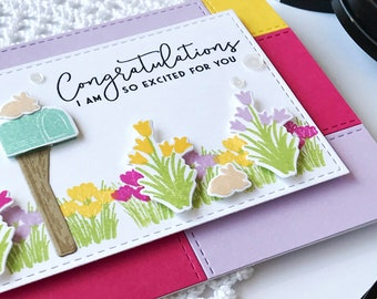 Congratulations I'm So Excited For You Greeting Card, Handmade Card, Handstamped Card, A2 Notecard, Floral Greeting Card, Friendship Card