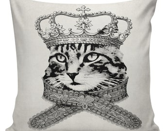 Hipster Pillow Cover Cotton Canvas Throw Pillow #UE0021 18 inch square Royal Cat Urban Elliott