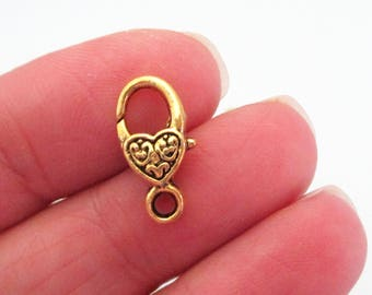 Gold Plated Lobster Clasp - Heart Shaped Lobster Clasp - 17mmx9mm- Metal Jewelry Findings - Lock Necklace Clasp 10 Pcs -Diy Jewelry Findings