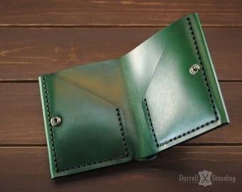Simple green leather wallet,  small wallet for men's or women's, bifold wallet, handmade SW0060g