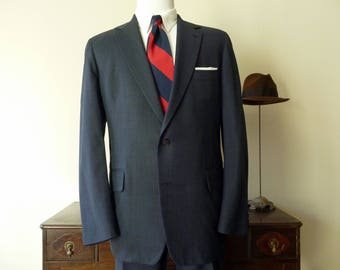 RARE Vintage J. Press PRESSTIGE Solid Blue 2 Button Trad / Ivy League Suit 44 L. Made in USA.