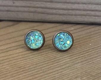 Mint Green Druzy Stud Earrings - faux druzy