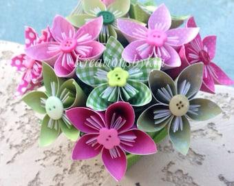 Origami paper flower bouquet grey wedding decorations paper garden of eden kusudama origami flower bouquetflower arrangement wedding bridal shower mightylinksfo