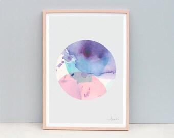 Contemporary Art Print, Circle Art, Modern Abstract Painting, Watercolor Wall Art, Watercolor Art Print, Art Print, Purple Art