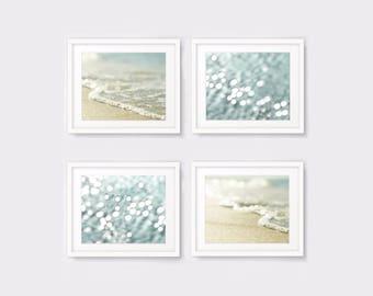Nautical print set of 4 coastal decor ocean photography, beach photo prints, seascape wall art, bokeh, print set instant download