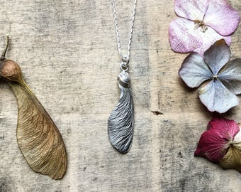 Sterling silver sycamore seed necklace, sycamore pendant, sycamore necklace, maple seed necklace, nature pendant, botanical pendant