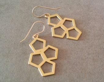 Hexagon Earrings, Geometric Earrings, Geometric Pattern Earrings, Mothers Day Jewellery, Bridesmaids Wedding Gift, ...