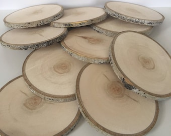 "Set of 10 (5-5.5"") Aspen Wood Slices - Large Wood Slices - Centerpieces - Wood Slab - Rustic Wedding Decor - Tree Slices - Wood Discs -"