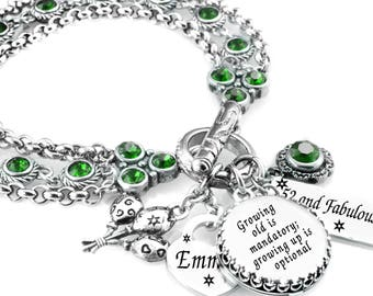 Emerald Birthstone Bracelet - Personalized - May Birthstone - Birthday Bracelet - May Crystal Jewelry