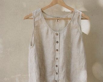 RIVER linen top | button up | sleeveless top | breastfeeding friendly