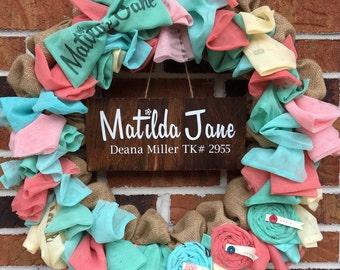 "The Original Matilda Jane Wreath** 18"" Natural Burlap Custom Matilda Jane Wreath for Trunk Keepers"