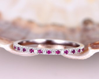Natural ruby diamond wedding band solid 14k white gold half eternity ring matching band stacking ring anniversary ring thin band pave set