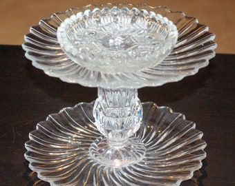 2 Tier Jewelry Tray, Jewelry Holder, Candy Dish, Trinket Dish, Glass and Crystal, Up-cycled