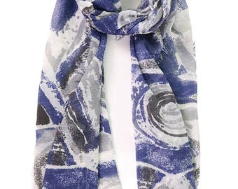 Navy Scarf Womens Marble Print Oversized Navy Scarf Womens Scarves Ladies Wraps Shawls Womens Navy Scarf Gift for Her Mother Gift Bridesmaid