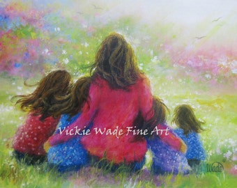 Mother and Four Daughters Art Print four girls paintings, garden mother, motherhood, four sisters, girls room, wall art, Vickie Wade art