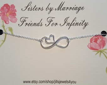 Sister in Law Gift- Sister to be Gift-  Bridal Party Necklace- Wedding Jewelry - Sister Necklace - Bridal Gift - Infinity Heart Necklace