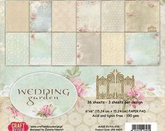 36 papers 15.2 x 15.2 cm CRAFT AND YOU GARDEN WEDDING