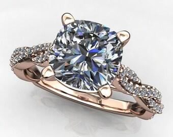 neri ring - 1.7 carat cushion cut NEO moissanite engagement ring