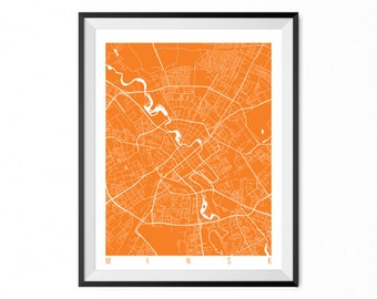 MINSK Map Art Print / Belarus Poster / MINSK Wall Art Decor / Choose Size and Color
