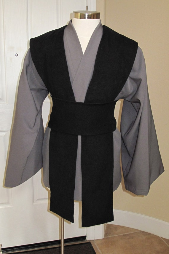 Black/Grey or Grey/Black tunic with tabards & sash/obi ,4 pcs costume