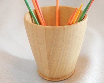 Mother's day gift, Gift under 15 dollars, Wood toothpick cup, Pine wood cup, white wood, toothpick holder,