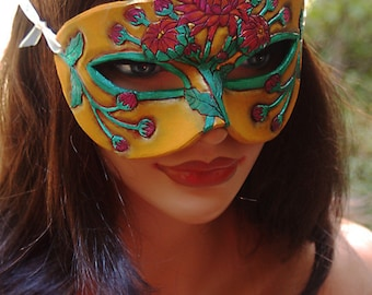 Lady of November Topaz and Chrysanthem Leather Mask - Limited Edition 1 of 10 Birthstone Birth Flower Art Nouveau Mardi Gras Masquerade