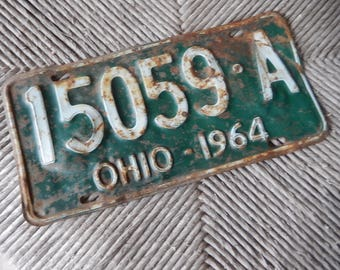 License Plates Ohio Vintage 1964 Rustic Green Garage, Industrial, Man Cave, Pub, Bar Decor, Barn, Wall Hanging, Old Sign Home Decor