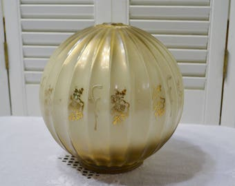 Vintage Lamp Parts Glass Globe Gold White Floral Replacement Parts Craft Supplies Upcycle Recycle PanchosPorch