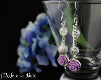 Purple Rose w/ white silver glass bead dangle earrings