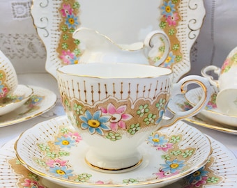 Charming Pink & Pretty Floral Vintage Tuscan Teaset, Perfect