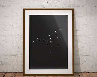 Ursa Major Constellation Printable, Big Dipper Astrology Print, Abstract Art Print, Large Poster Printable, Instant Download, Star Printable