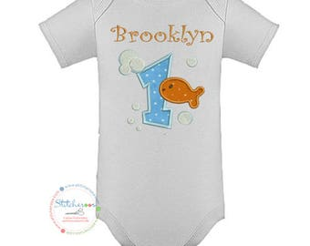 Goldfish Birthday Shirt or Onesie- Any Age and color scheme (1495)