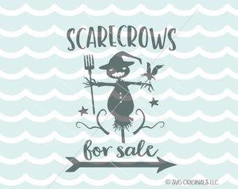 Halloween SVG Scarecrow SVG File. Cricut Explore & more. Scarecrows For Sales Halloween Fun Sign Fall Autum SVG