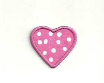 Tiny Polka Dot Heart, Patch! Custom Made!