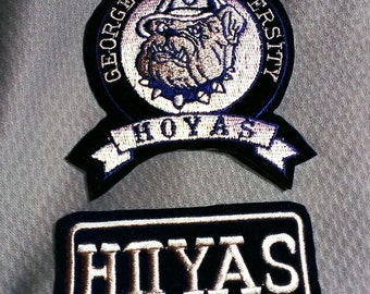 Vintage Lot Of 2 Georgetown University Hoyas Embroidered Sew-on Patches