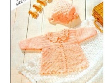 4 ply crochet pattern, Childrens Crochet Matinee Set and Shawl,  baby crochet,childs cardigan and shawl. 14- 18 inches
