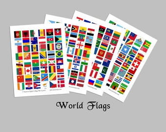 World Flags / 1x1 Inch Squares / 192 Countries / Four 8.5x11 Digital Collage Sheets / International / For Crafts / Instant download