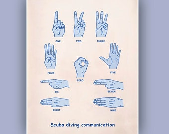 Scuba diving Communication Print, Deep Sea signs print, Nautical wall art, Underwater signs print, diver, diving school, dive center